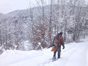 hunting, deep snow, vermont, muzzleloader