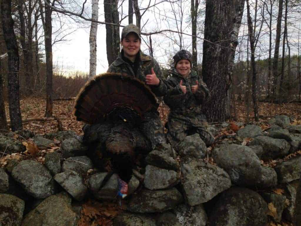 "Jessie poses with Turkey (18.5 lbs. 9 1/2"" beard 3/4"" Spurs each side) alongside her brother Cole"