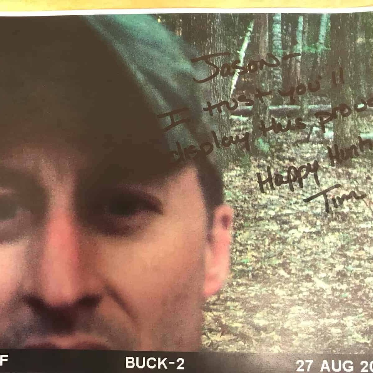 Tim Signed Trail Camera Selfie